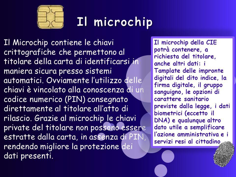 Il Microchip contiene le chiavi crittografiche che permettono al titolare della carta di identificarsi in maniera sicura presso sistemi automatici.