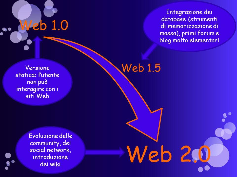 Web 1.0 Web 2.0 Web 1.5 Versione statica: lutente non può interagire con i siti Web Integrazione dei database (strumenti di memorizzazione di massa), primi forum e blog molto elementari Evoluzione delle community, dei social network, introduzione dei wiki
