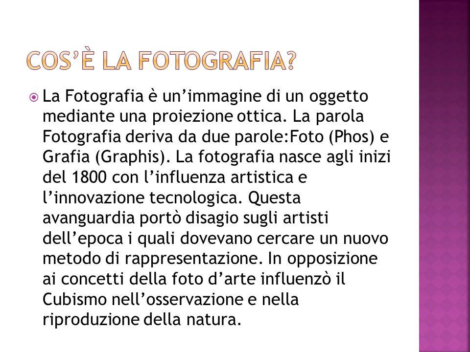 La Fotografia è unimmagine di un oggetto mediante una proiezione ottica. La parola Fotografia deriva da due parole:Foto (Phos) e Grafia (Graphis). La