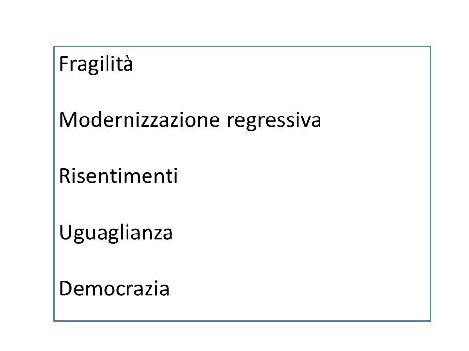 Fragilità Modernizzazione regressiva Risentimenti Uguaglianza Democrazia