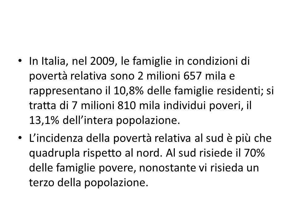 In Italia, nel 2009, le famiglie in condizioni di povertà relativa sono 2 milioni 657 mila e rappresentano il 10,8% delle famiglie residenti; si tratta di 7 milioni 810 mila individui poveri, il 13,1% dellintera popolazione.
