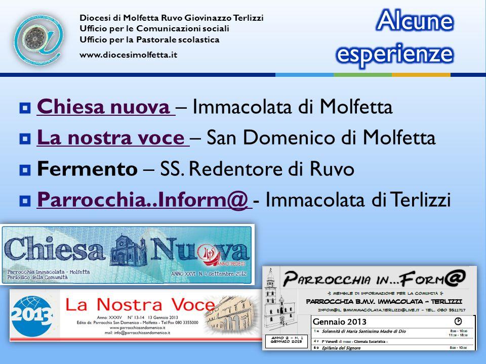 Chiesa nuova – Immacolata di Molfetta Chiesa nuova La nostra voce – San Domenico di Molfetta La nostra voce Fermento – SS.