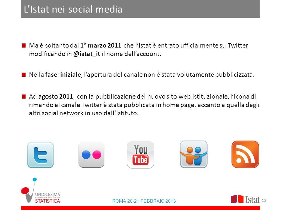 LIstat nei social media Ma è soltanto dal 1° marzo 2011 che lIstat è entrato ufficialmente su Twitter modificando in @istat_it il nome dellaccount. Ne