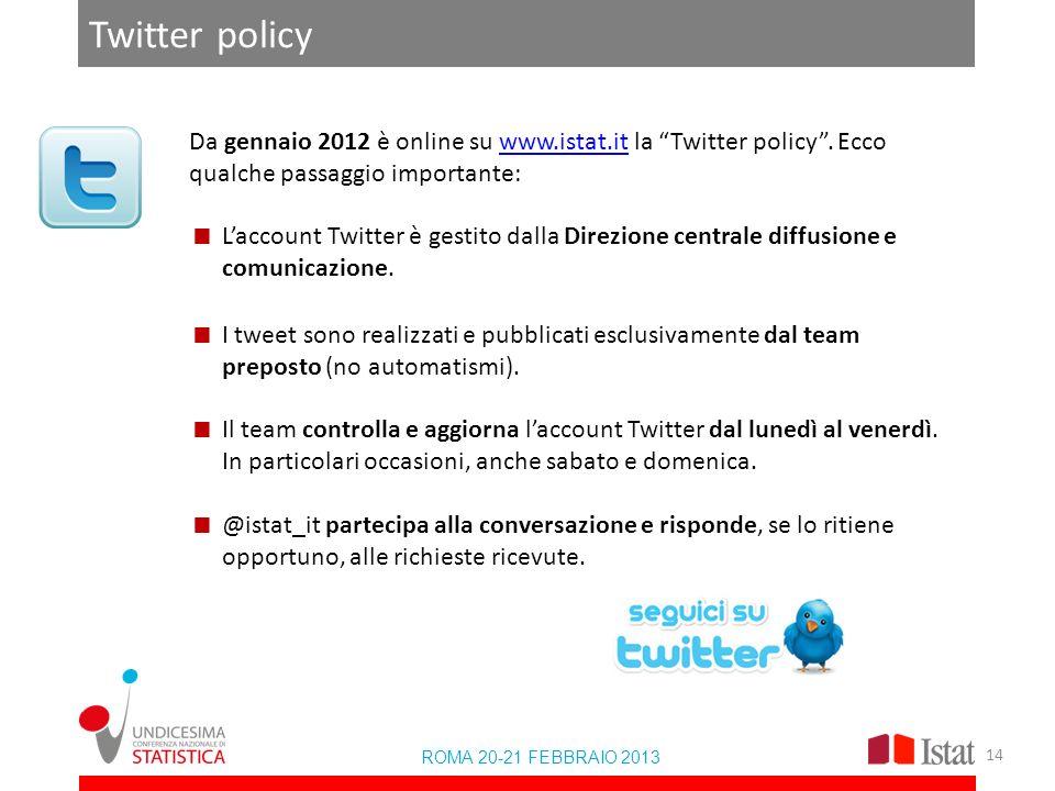 Twitter policy Da gennaio 2012 è online su www.istat.it la Twitter policy. Ecco qualche passaggio importante:www.istat.it Laccount Twitter è gestito d