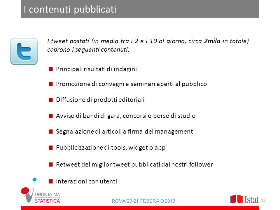 I contenuti pubblicati ROMA 20-21 FEBBRAIO 2013 I tweet postati (in media tra i 2 e i 10 al giorno, circa 2mila in totale) coprono i seguenti contenut