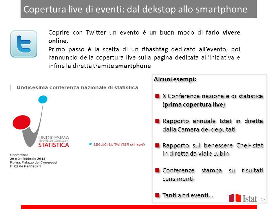 Copertura live di eventi: dal dekstop allo smartphone Coprire con Twitter un evento è un buon modo di farlo vivere online. Primo passo è la scelta di