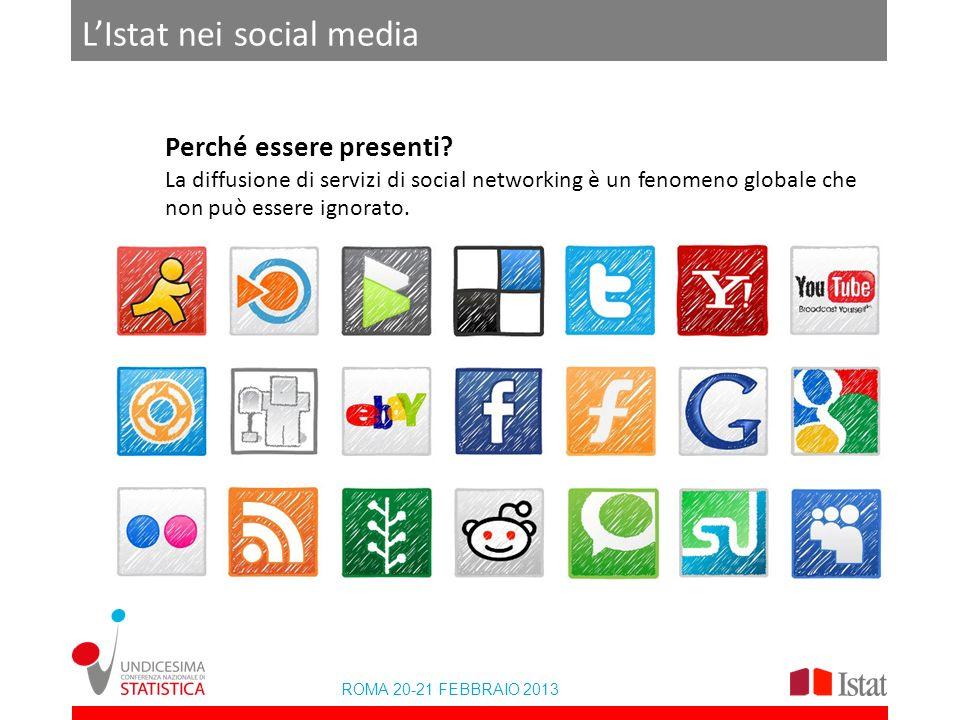 ROMA 20-21 FEBBRAIO 2013 LIstat nei social media Perché essere presenti? La diffusione di servizi di social networking è un fenomeno globale che non p