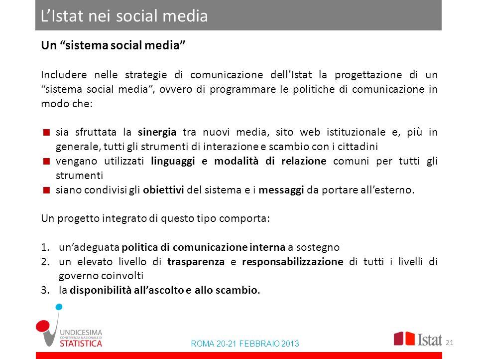 LIstat nei social media ROMA 20-21 FEBBRAIO 2013 Un sistema social media Includere nelle strategie di comunicazione dellIstat la progettazione di un s
