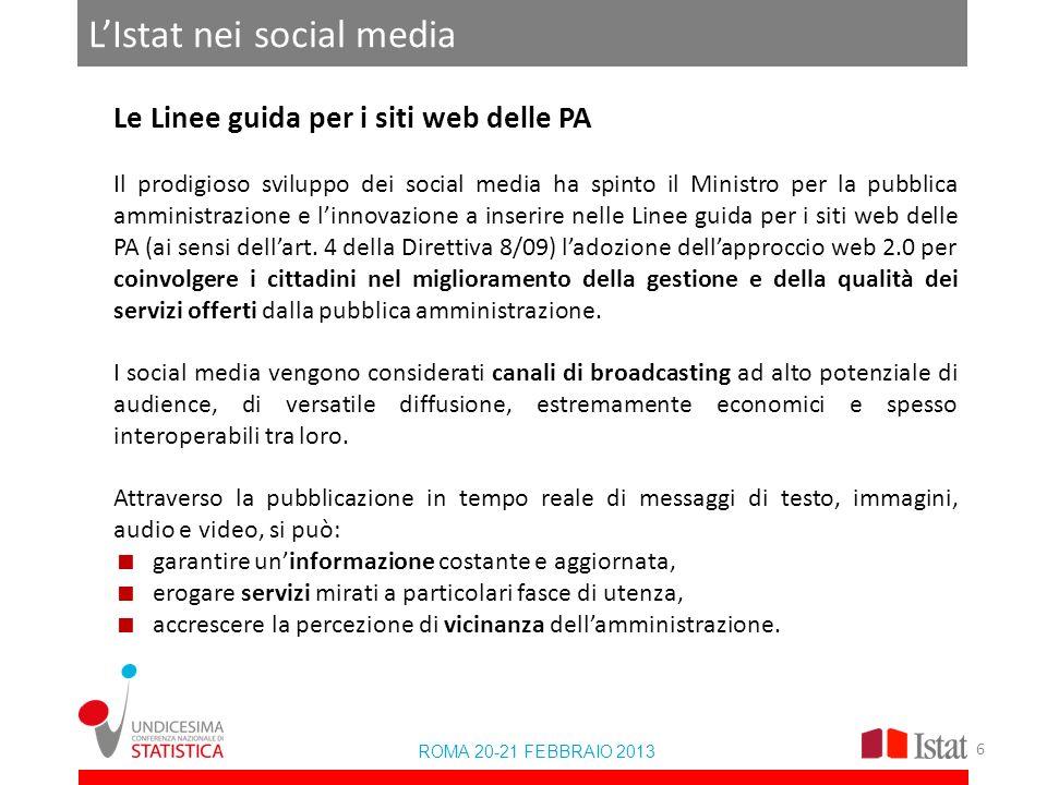 LIstat nei social media ROMA 20-21 FEBBRAIO 2013 Le Linee guida per i siti web delle PA Il prodigioso sviluppo dei social media ha spinto il Ministro per la pubblica amministrazione e linnovazione a inserire nelle Linee guida per i siti web delle PA (ai sensi dellart.