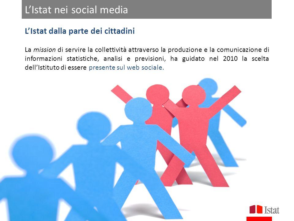 LIstat nei social media ROMA 20-21 FEBBRAIO 2013 LIstat dalla parte dei cittadini La mission di servire la collettività attraverso la produzione e la comunicazione di informazioni statistiche, analisi e previsioni, ha guidato nel 2010 la scelta dellIstituto di essere presente sul web sociale.