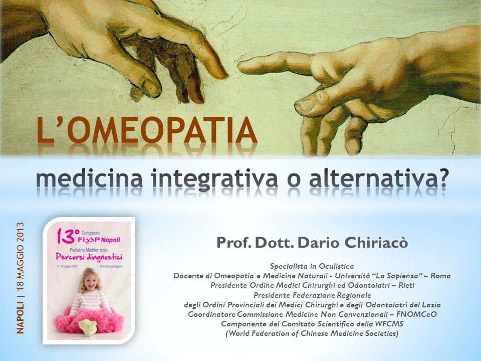 Prof. Dott. Dario Chiriacò Specialista in Oculistica Docente di Omeopatia e Medicine Naturali - Università La Sapienza – Roma Presidente Ordine Medici