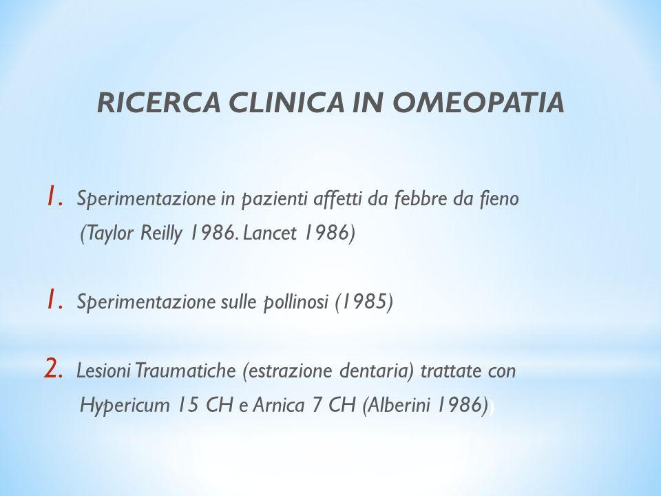 1. Sperimentazione in pazienti affetti da febbre da fieno (Taylor Reilly 1986. Lancet 1986) 1. Sperimentazione sulle pollinosi (1985) 2. Lesioni Traum