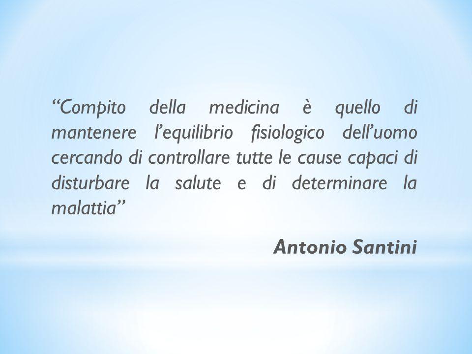 Compito della medicina è quello di mantenere lequilibrio fisiologico delluomo cercando di controllare tutte le cause capaci di disturbare la salute e