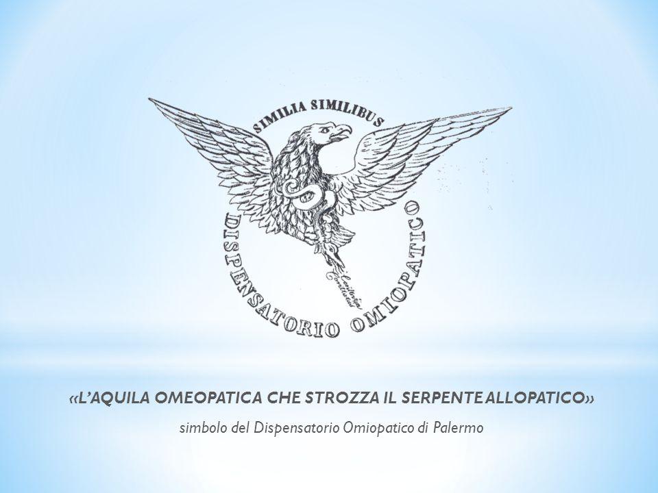 «LAQUILA OMEOPATICA CHE STROZZA IL SERPENTE ALLOPATICO» simbolo del Dispensatorio Omiopatico di Palermo