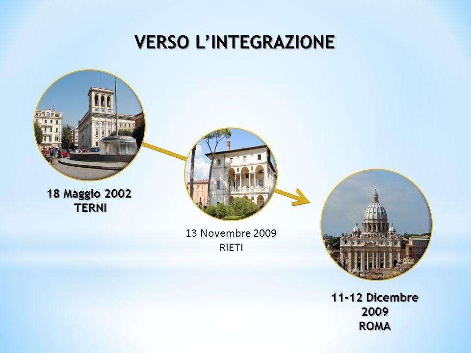 18 Maggio 2002 TERNI TERNI 13 Novembre 2009 RIETI 11-12 Dicembre 2009 ROMA VERSO LINTEGRAZIONE