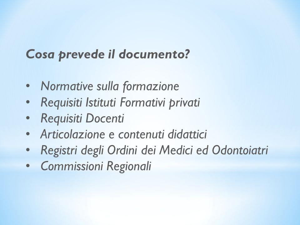 Cosa prevede il documento? Normative sulla formazione Requisiti Istituti Formativi privati Requisiti Docenti Articolazione e contenuti didattici Regis