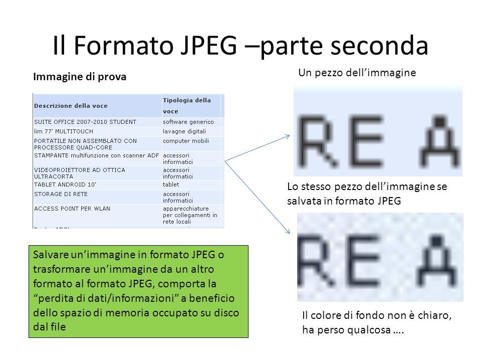 Il Formato JPEG –parte seconda Immagine di prova Lo stesso pezzo dellimmagine se salvata in formato JPEG Un pezzo dellimmagine Salvare unimmagine in f