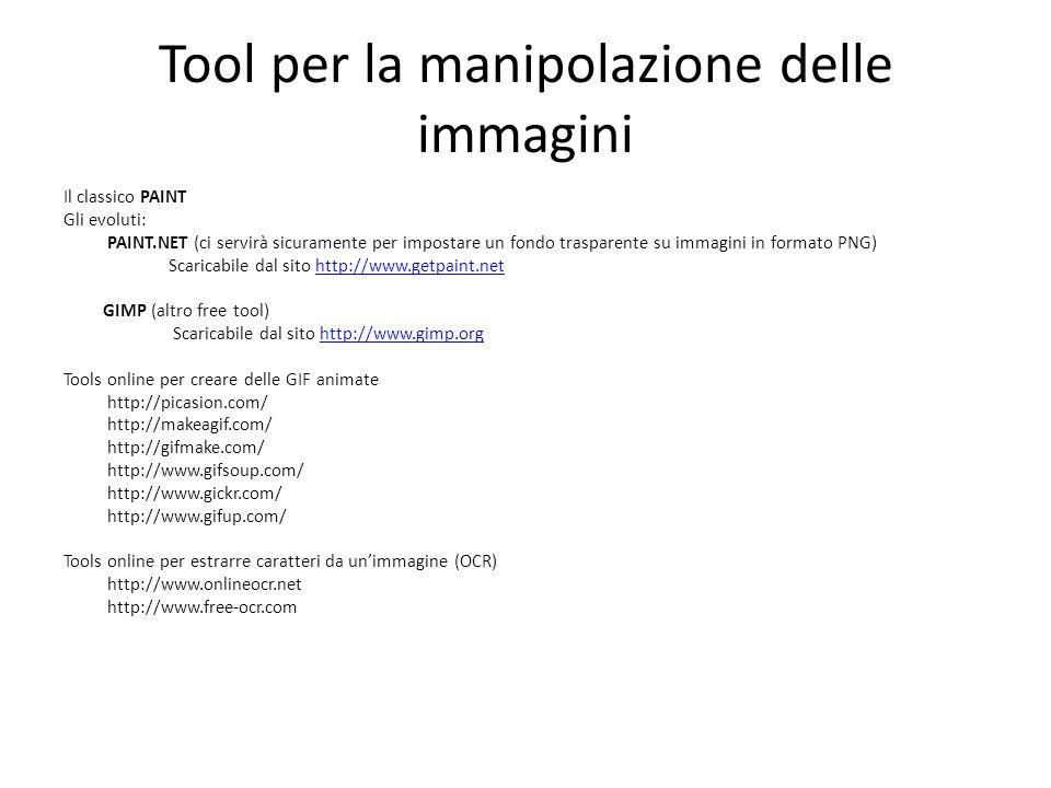 Tool per la manipolazione delle immagini Il classico PAINT Gli evoluti: PAINT.NET (ci servirà sicuramente per impostare un fondo trasparente su immagi