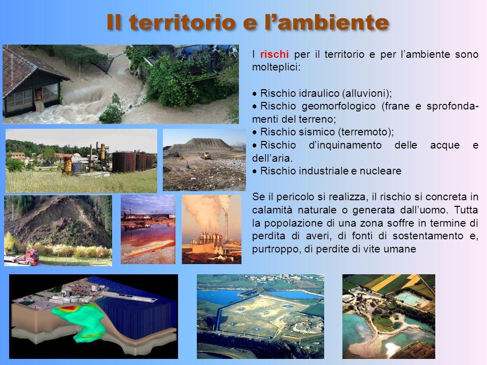 Il territorio e lambiente I rischi per il territorio e per lambiente sono molteplici: Rischio idraulico (alluvioni); Rischio geomorfologico (frane e s