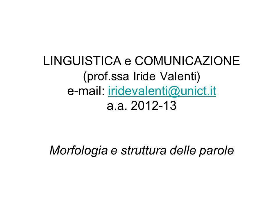 Bibliografia di riferimento S ERGIO S CALISE, La formazione delle parole, in Lorenzo Renzi, Giampaolo Salvi, Anna Cardinaletti (a c.