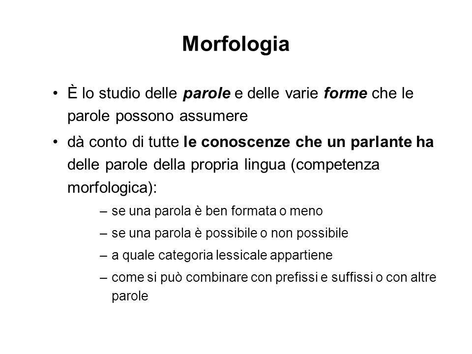 La morfologia tra i moduli della grammatica La MORFOLOGIA è parte di un componente più ampio: il COMPONENTE LESSICALE, composto da: Un LESSICO vero e proprio costituito da lessemi Un insieme di REGOLE morfologiche che si applicano alle unità del lessico.