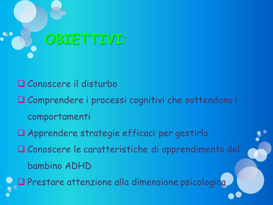 OBIETTIVI: Conoscere il disturbo Comprendere i processi cognitivi che sottendono i comportamenti Apprendere strategie efficaci per gestirlo Conoscere