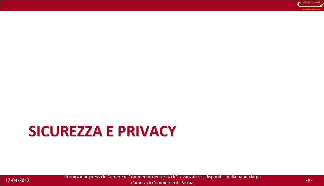 Promozione presso le Camere di Commercio dei servizi ICT avanzati resi disponibili dalla banda larga Camera di Commercio di Parma 17-04-20123 Sommario Cosè la sicurezza nellICT Aree della security ICT –Rischi e minacce –Attacchi principali Crittografia Sviluppo del security plan Esempi –Gestione della password –Principali frodi e precauzioni –Sicurezza Wi-Fi Legge sulla Privacy