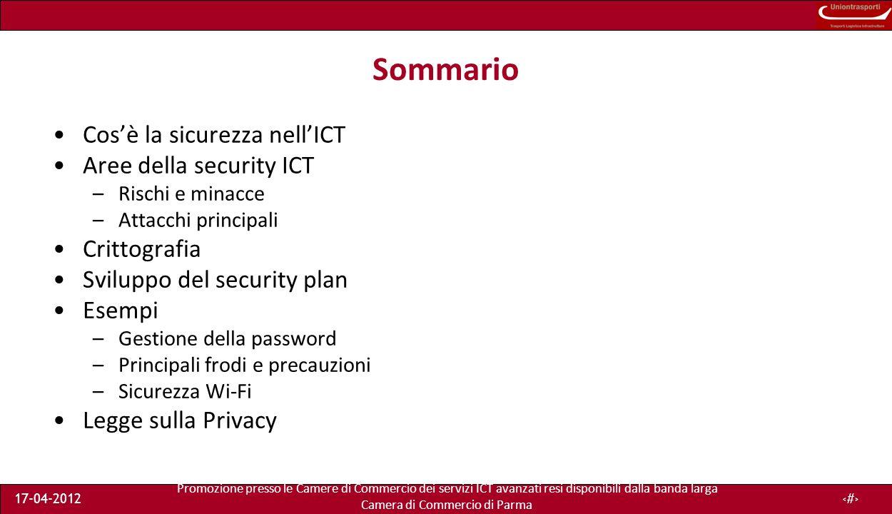 Promozione presso le Camere di Commercio dei servizi ICT avanzati resi disponibili dalla banda larga Camera di Commercio di Parma 17-04-201224 Meccanismi di security Sicurezza fisica –Stanza con accesso controllato, allarme, backup elettricità, off-site storage Protocolli/applicazioni –IPsec, TLS, PGP, WPA per WiFi Cifratura (Chiave/password) e algoritmi (AES, DSA) Firewall e remote access –Packet filtering Consapevolezza della sicurezza –Condividere le procedure con i dipendenti