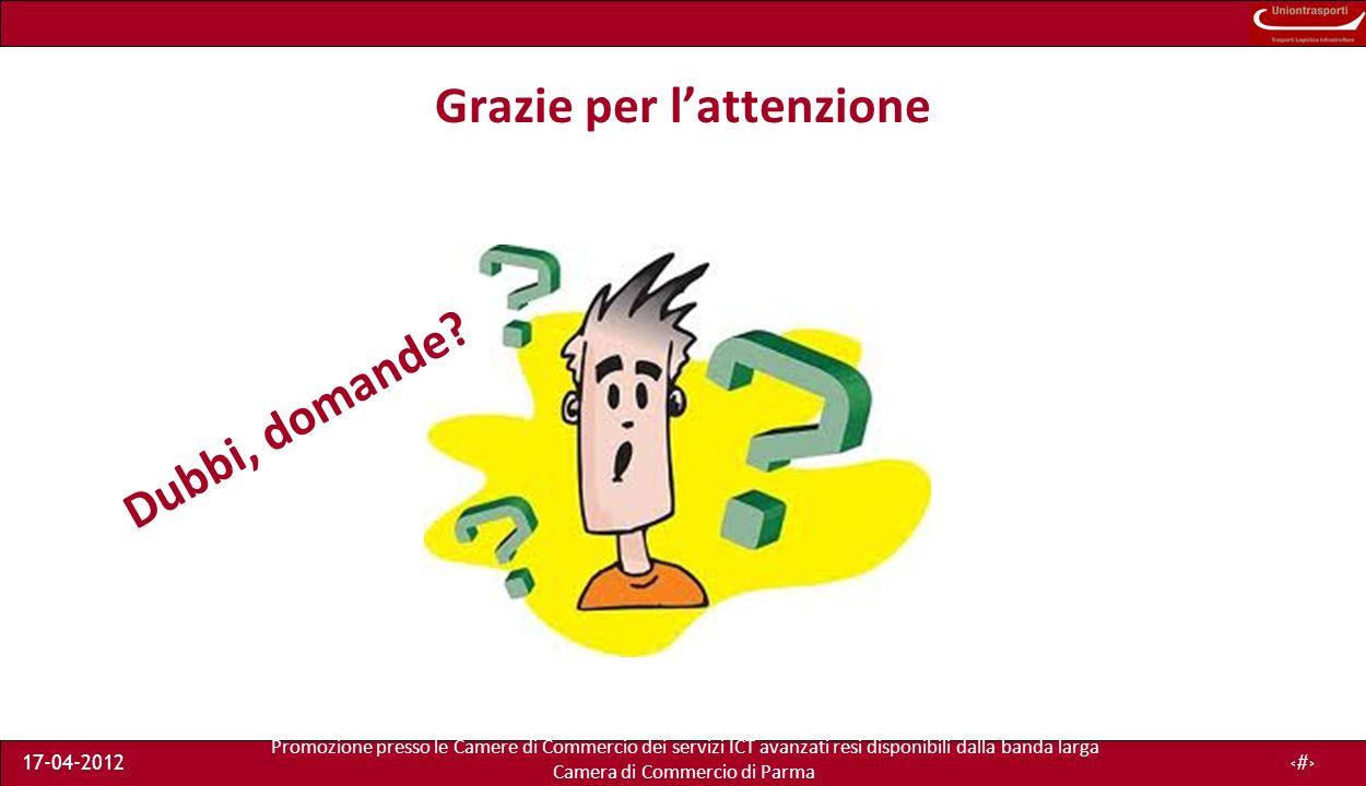Promozione presso le Camere di Commercio dei servizi ICT avanzati resi disponibili dalla banda larga Camera di Commercio di Parma 17-04-201248 Grazie per lattenzione Dubbi, domande