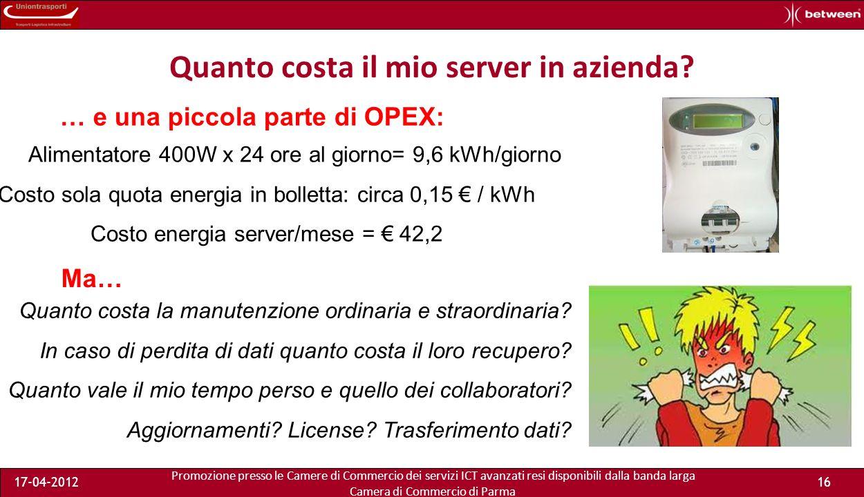 Promozione presso le Camere di Commercio dei servizi ICT avanzati resi disponibili dalla banda larga Camera di Commercio di Parma 17-04-201215 Quanto costa il mio server in azienda.