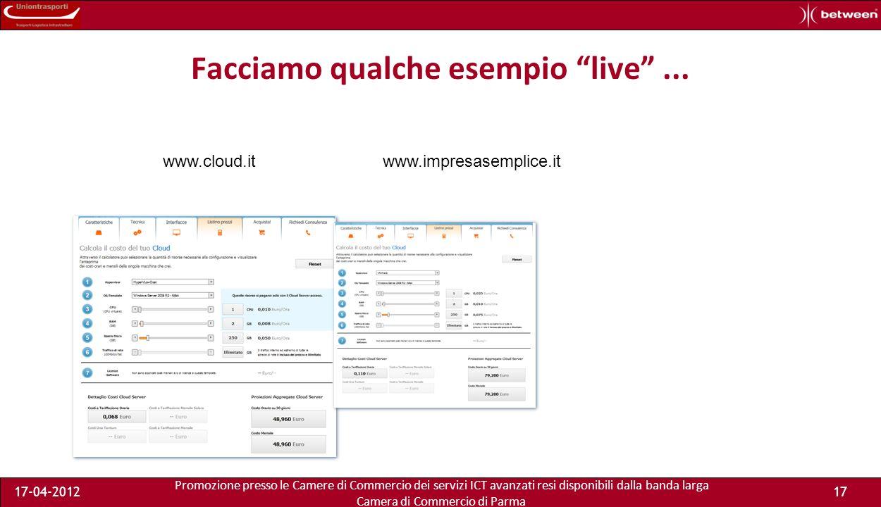 Promozione presso le Camere di Commercio dei servizi ICT avanzati resi disponibili dalla banda larga Camera di Commercio di Parma 17-04-201216 Quanto costa il mio server in azienda.