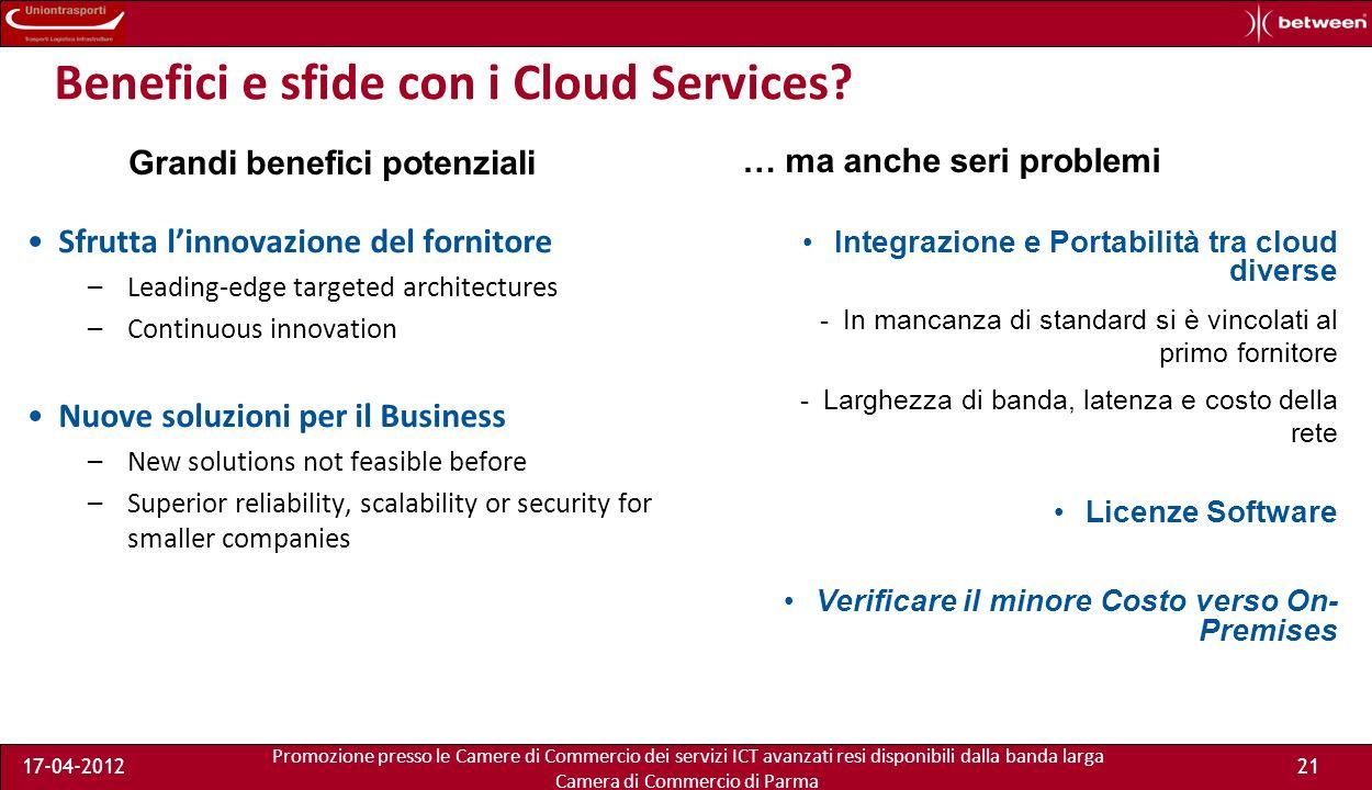 Promozione presso le Camere di Commercio dei servizi ICT avanzati resi disponibili dalla banda larga Camera di Commercio di Parma 17-04-201220 Benefici e sfide con i Cloud Services.