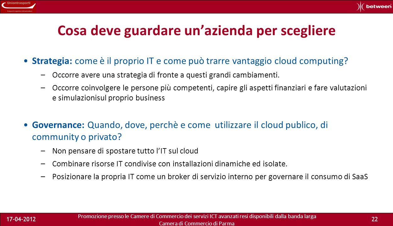 Promozione presso le Camere di Commercio dei servizi ICT avanzati resi disponibili dalla banda larga Camera di Commercio di Parma 17-04-201221 Benefici e sfide con i Cloud Services.