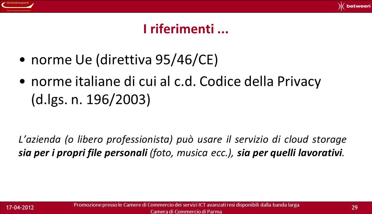 Promozione presso le Camere di Commercio dei servizi ICT avanzati resi disponibili dalla banda larga Camera di Commercio di Parma 17-04-201228 Breve parentesi sulla privacy Cosa accade quando i dati sono conservati in un server estero.