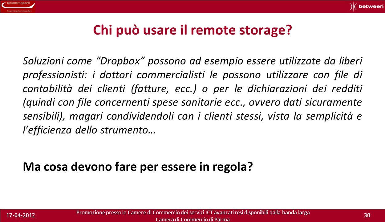 Promozione presso le Camere di Commercio dei servizi ICT avanzati resi disponibili dalla banda larga Camera di Commercio di Parma 17-04-201229 I riferimenti...