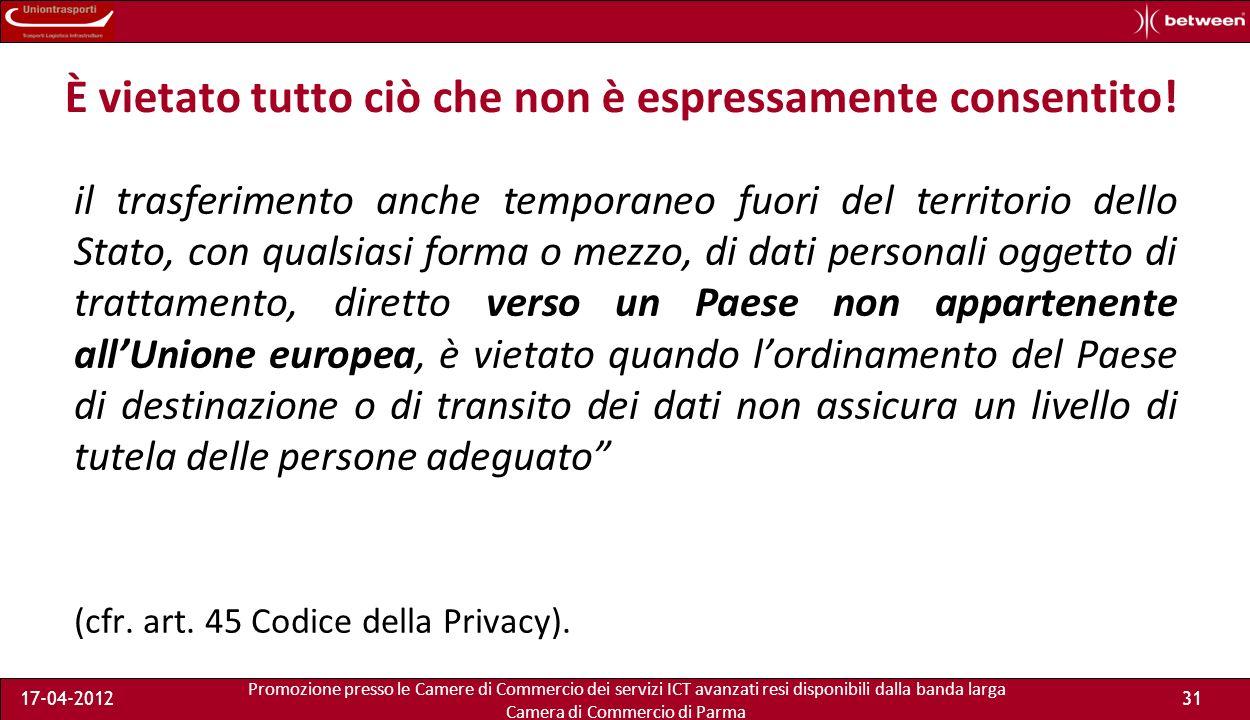 Promozione presso le Camere di Commercio dei servizi ICT avanzati resi disponibili dalla banda larga Camera di Commercio di Parma 17-04-201230 Chi può usare il remote storage.