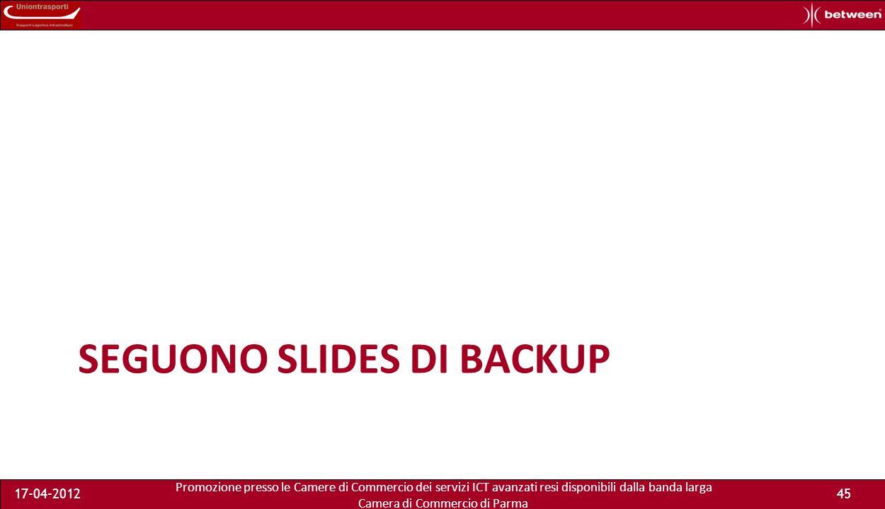 Promozione presso le Camere di Commercio dei servizi ICT avanzati resi disponibili dalla banda larga Camera di Commercio di Parma 17-04-201244 PRONTI PER LA PROSSIMA