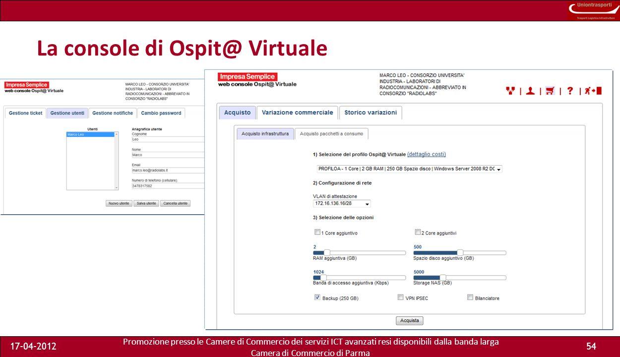Promozione presso le Camere di Commercio dei servizi ICT avanzati resi disponibili dalla banda larga Camera di Commercio di Parma 17-04-201253 Ospit@ Virtuale