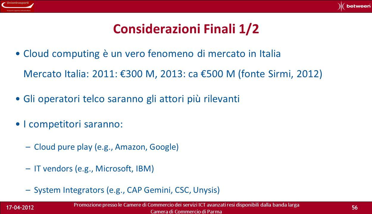 Promozione presso le Camere di Commercio dei servizi ICT avanzati resi disponibili dalla banda larga Camera di Commercio di Parma 17-04-201255 I costi di Ospit@ Virtuale