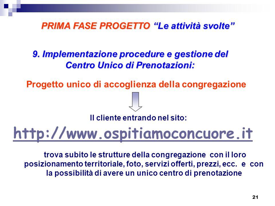 9. Implementazione procedure e gestione del Centro Unico di Prenotazioni: http://www.ospitiamoconcuore.it Il cliente entrando nel sito: trova subito l