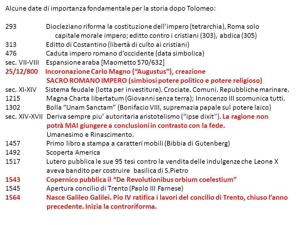 Alcune date di importanza fondamentale per la storia dopo Tolomeo: 293 Diocleziano riforma la costituzione dellimpero (tetrarchia), Roma solo capitale
