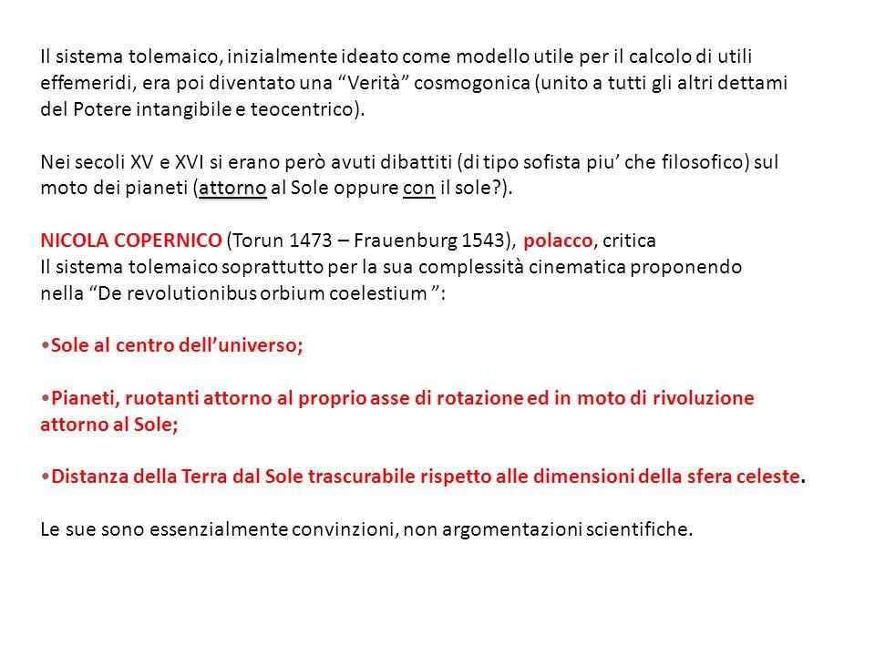 Il sistema tolemaico, inizialmente ideato come modello utile per il calcolo di utili effemeridi, era poi diventato una Verità cosmogonica (unito a tut