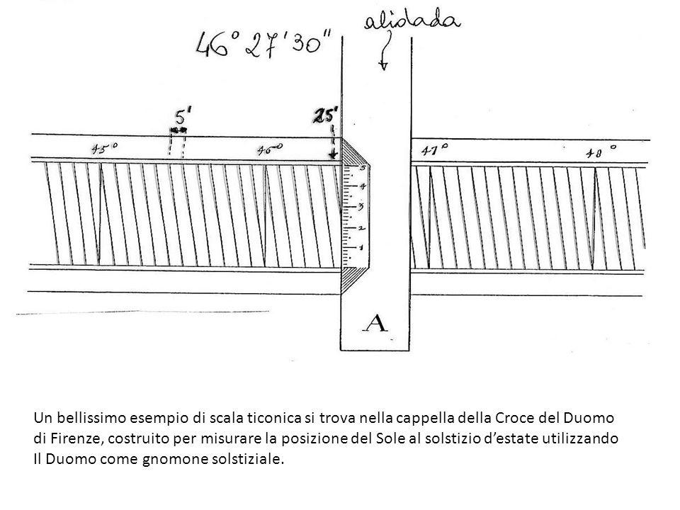 Un bellissimo esempio di scala ticonica si trova nella cappella della Croce del Duomo di Firenze, costruito per misurare la posizione del Sole al sols
