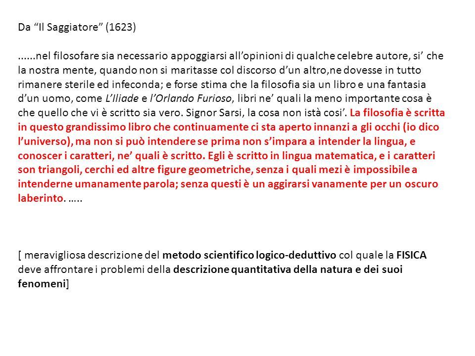 Da Il Saggiatore (1623)......nel filosofare sia necessario appoggiarsi allopinioni di qualche celebre autore, si che la nostra mente, quando non si ma
