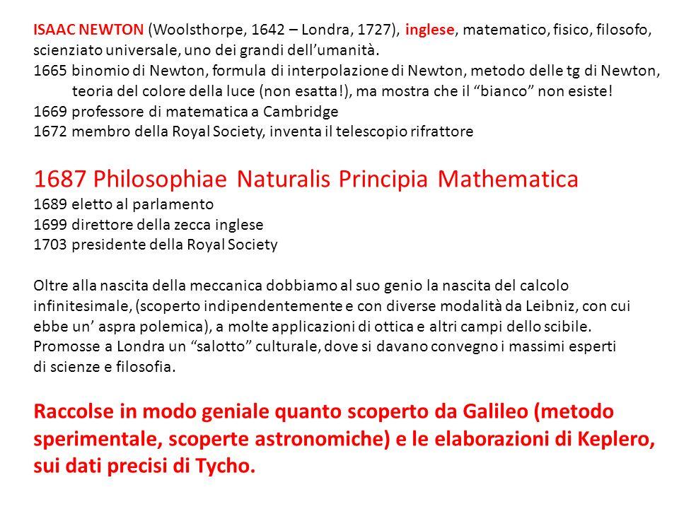ISAAC NEWTON (Woolsthorpe, 1642 – Londra, 1727), inglese, matematico, fisico, filosofo, scienziato universale, uno dei grandi dellumanità. 1665 binomi