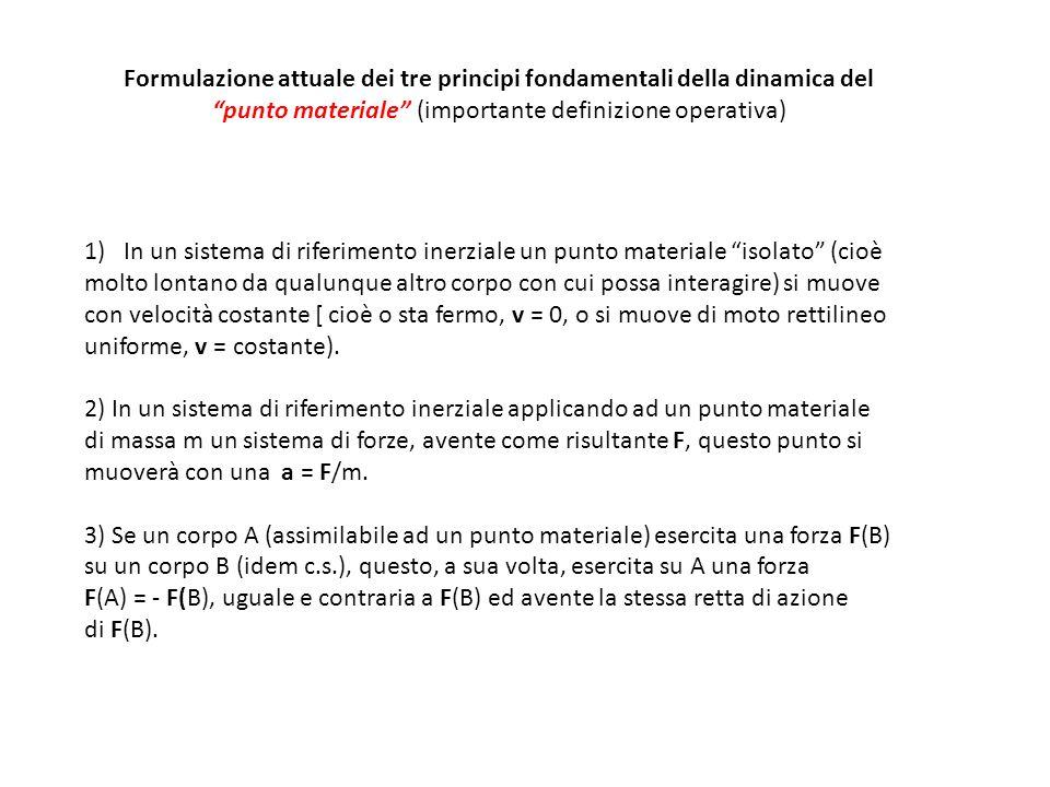 Formulazione attuale dei tre principi fondamentali della dinamica del punto materiale (importante definizione operativa) 1)In un sistema di riferiment
