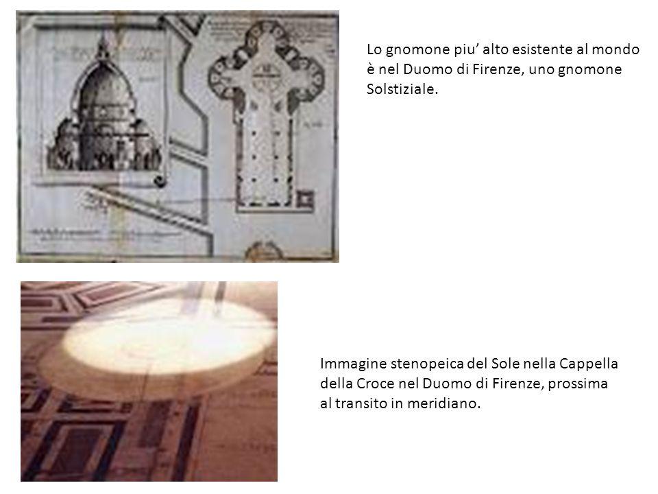 Lo gnomone piu alto esistente al mondo è nel Duomo di Firenze, uno gnomone Solstiziale. Immagine stenopeica del Sole nella Cappella della Croce nel Du