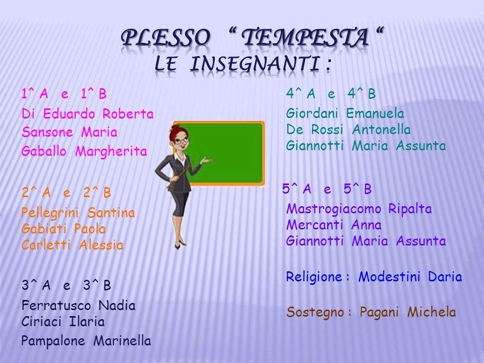 1^ A e 1^ B Di Eduardo Roberta Sansone Maria Gaballo Margherita 2^ A e 2^ B Pellegrini Santina Gabiati Paola Carletti Alessia 3^ A e 3^ B Ferratusco N