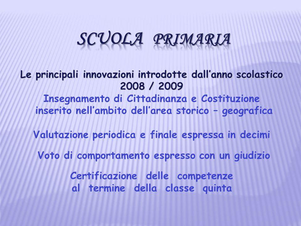 Le principali innovazioni introdotte dallanno scolastico 2008 / 2009 Insegnamento di Cittadinanza e Costituzione inserito nellambito dellarea storico