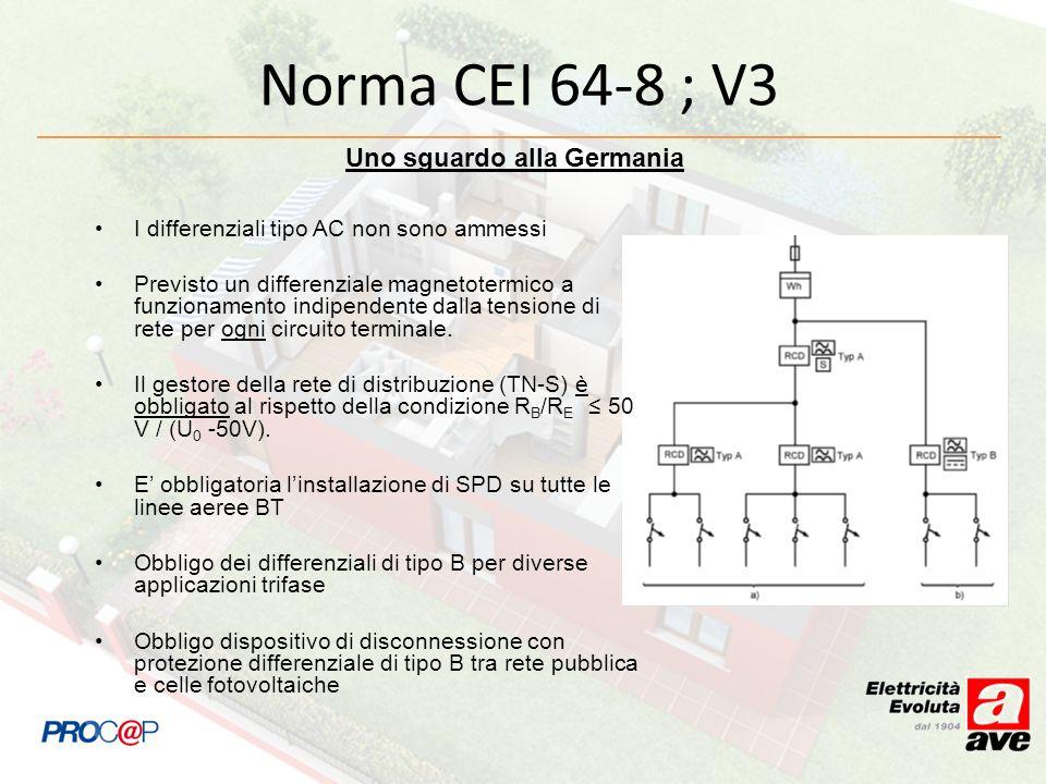 Norma CEI 64-8 ; V3 Uno sguardo alla Germania I differenziali tipo AC non sono ammessi Previsto un differenziale magnetotermico a funzionamento indipe